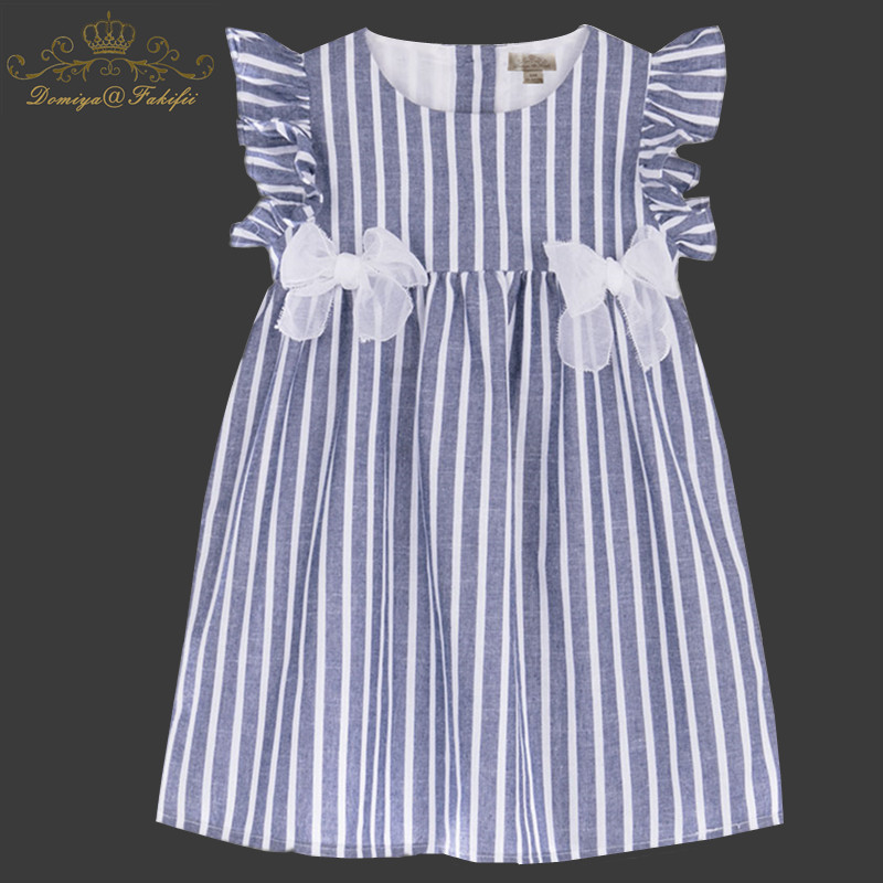 Baby Girls Striped Dress 2018 Brand Summer Girl Party Dress Children Clothing Bownot Princess Costume Kids Dresses for Girl 1-8T 2016 new free shipping retail princess dress girls baby kids children dresses for girl clothing summer dress little girl party