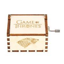 Caja de música con manivela de mano de madera Vintage Retro, decoración de manualidades para el hogar, Juego de tronos, canción, fuego de hielo, caja de música con tema principal