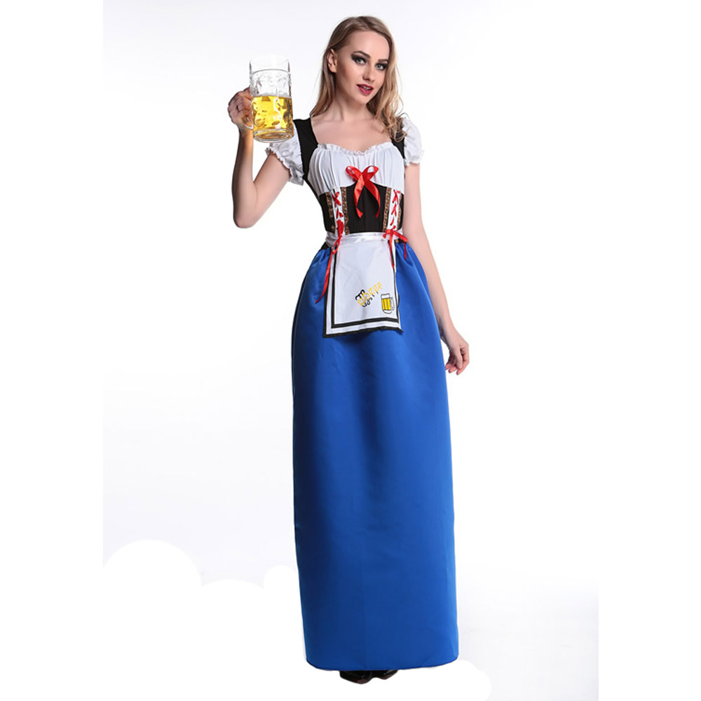 Free Shipping Germany Beer Girl Dress Long Design Costumes For Cosplay