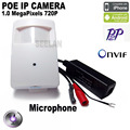1280*720 P 1.0MP ONVIF P2P Plug and Play Mini pir câmera ip mini poe câmera ip estilo pir motion detector poe sistema plug and play