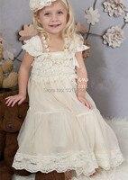 Ivory Lace Flower Girl Dresses Vestido De Festa Ivory Rustic Dress Baby Baptism Party Dress Girls