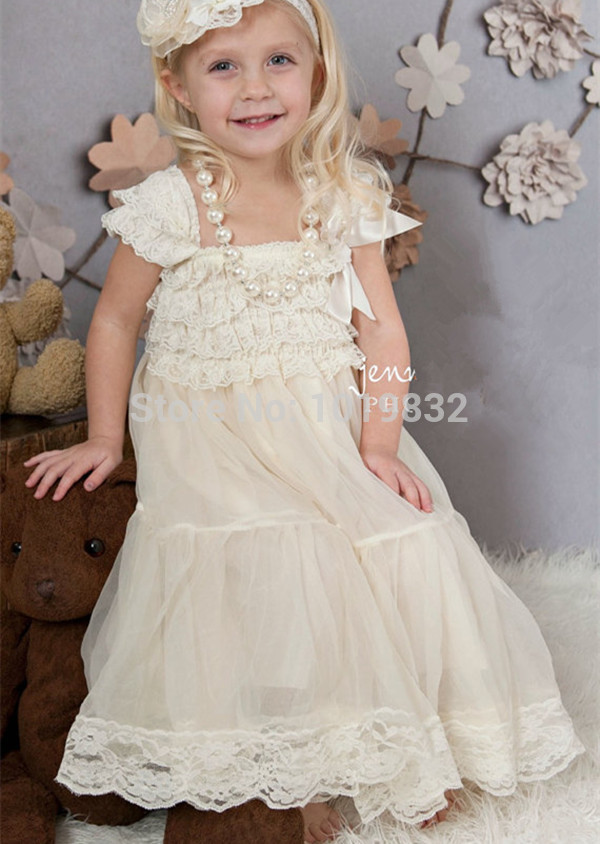 Ivory Lace Flower Girl Dresses Vestido De Festa Ivory Rustic Dress Baby Baptism/Party Dress Girls Pageant Dresses 15 color infant girl dress baby girl pageant dress girl party dresses flower girl dresses girl prom dress 1t 6t g081 4