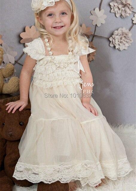 Vestidos Da Menina de Flor Vestido De Festa do Laço Do marfim Marfim Rústico Vestido Do Baptismo Do Bebê/Meninas Vestido de Festa Vestidos Pageant