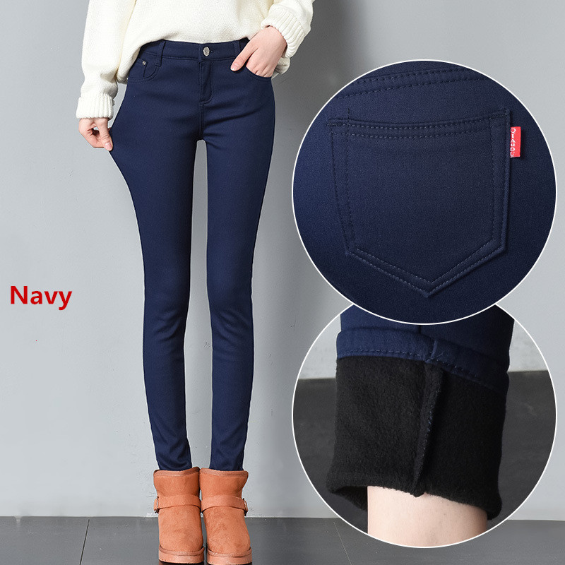 2019 Thick Pencil Pants For Women Winter Warm Skinny Femme Trousers With Velvet Inside Solid Slim