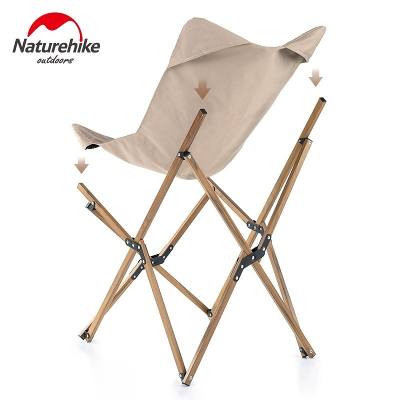 Image 2 - Naturehike Wood Timber Fishing Chair Can For Office Camping Light  Wood Grain Nap Chair Beach Chair Fishing Outdoor Folding ChairFishing  Chairs