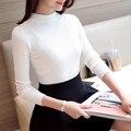 Otoño invierno mujer jersey de cuello alto suéter que hace punto largo-manga de la camisa básica de primavera las mujeres de color Sólido top de manga larga