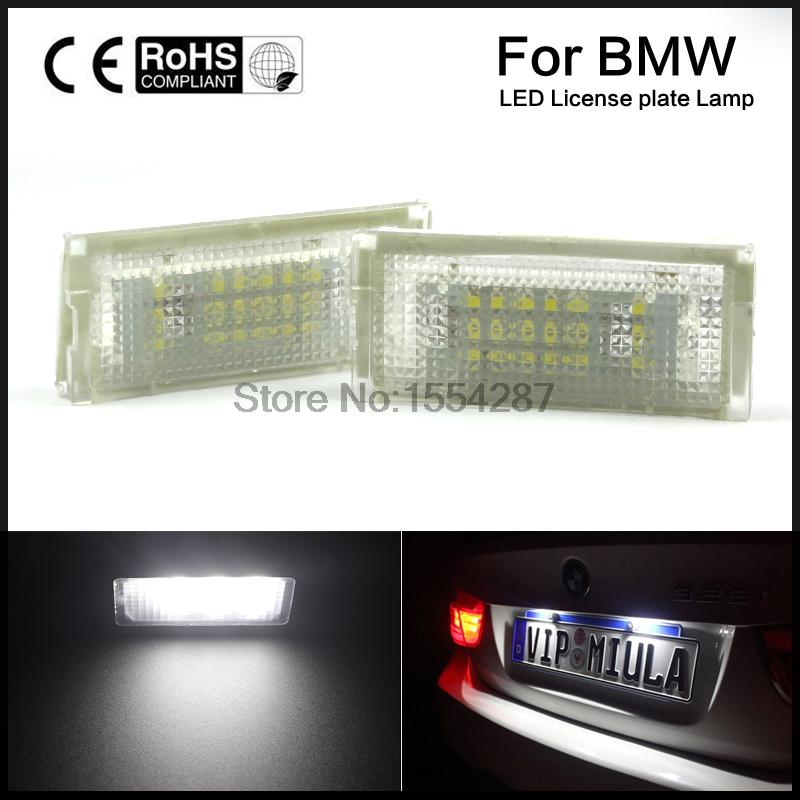 2pcs White LED License Plate Lights Lamps Bulbs for BMW E46 4D 98 year-03year original vehicle to install canbus error free 2pcs lot 24 smd car led license plate light lamp error free canbus function white 6000k for bmw e39 e60 e61 e70 e82 e90 e92