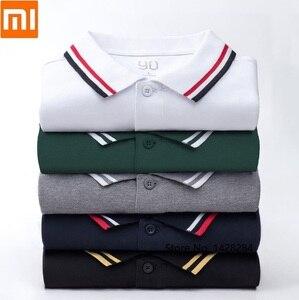 Image 1 - Xiaomi 90 点古典的なファッションラペルシャツクールと絹のようなパッチワークリブ男性半袖高数量ポロ男性