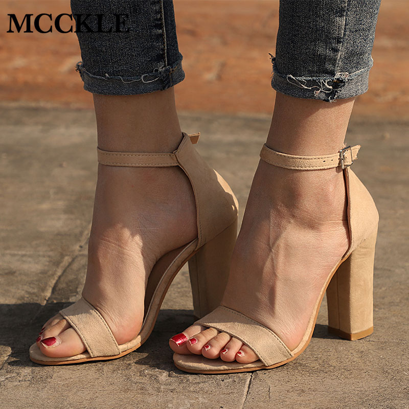 MCCKLE Women Sandals Plus Size Female High Heels Flock Woman Square Heel Buckle Strap Cover Heel Sexy Party Wedding Shoe xiaying smile summer woman sandals square cover heel woman pumps buckle strap fashion casual flower flock student women shoes