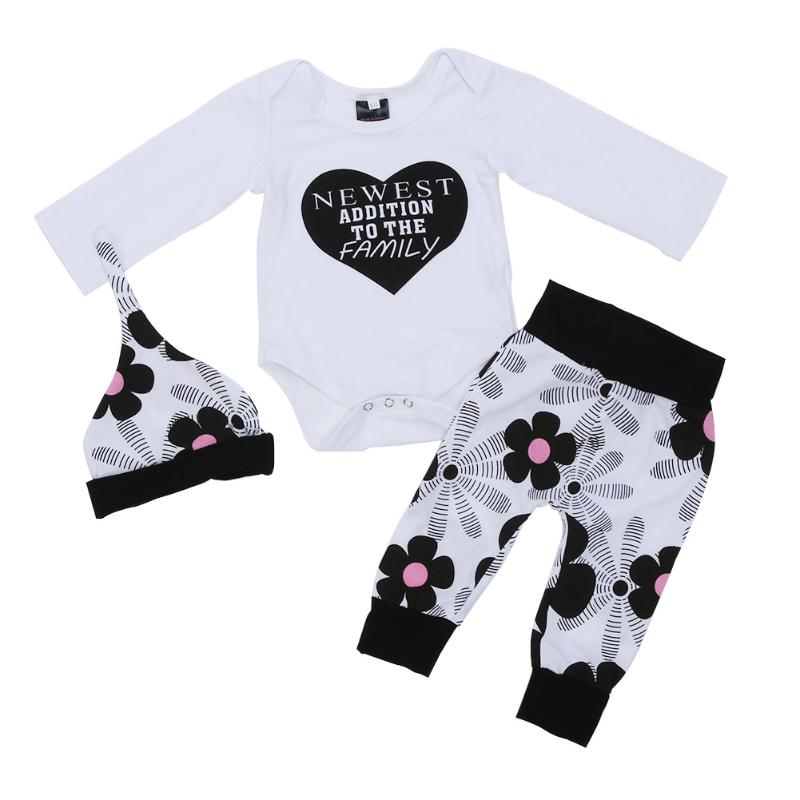 3pcs/set Winter Baby Infant Clothing Newborn Boy Girls Letters Printed Long Sleeve Bodysuit Floral Cap Pants Outfits