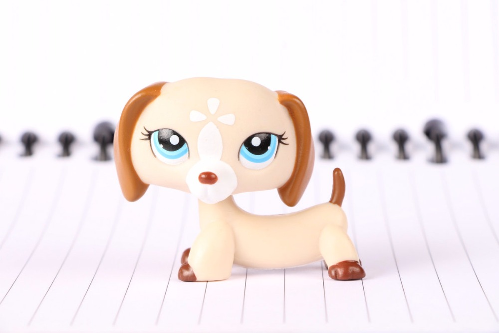 New Pet Collection Figure LPS #1491 Dachshund Dog Puppy White Tan Cream Kids Toys pet shop toys dachshund 932 bronw sausage dog star pink eyes