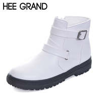 HEE GRAND Buckle Strap With Low Heel Women Snow Boots Keeping Warm PU Leather Fashion Woman