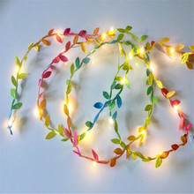 Листья гирлянда Волшебные светодиодные фонарики медная проволочная Гирлянда Свет батарея Крытая гирлянда для свадьбы Вечерние рождественские украшения для дома
