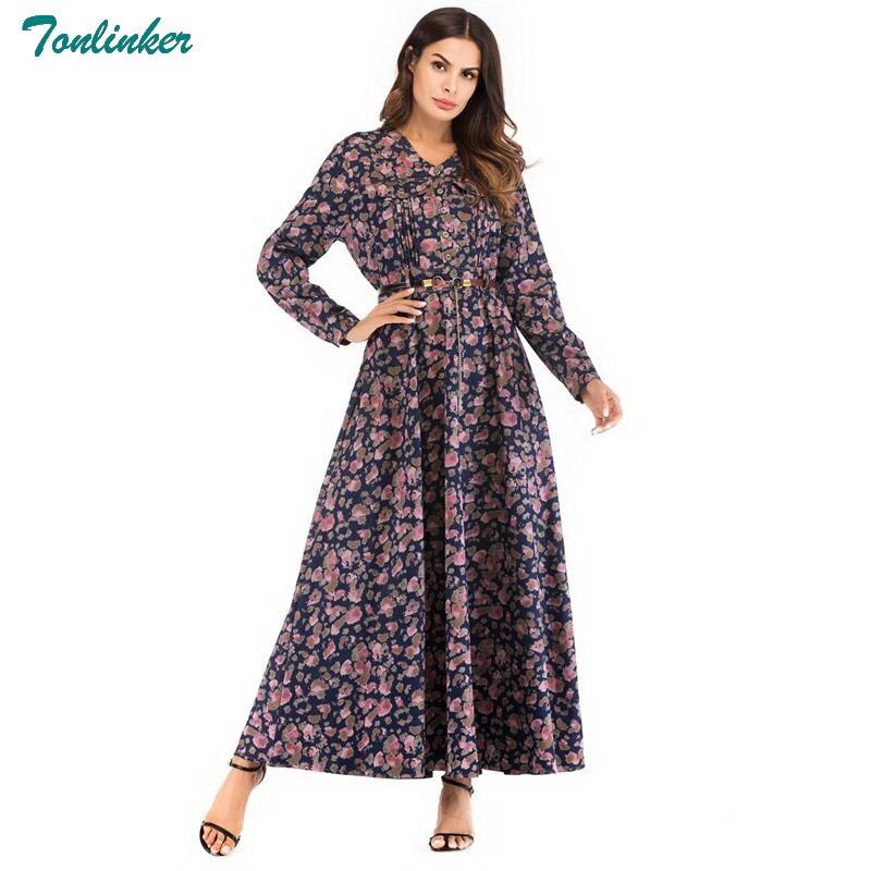2018 Femmes Denim Automne Robe Neck Taille Pleine Nouveau V Swing Manches Maxi Élégantes Musulman Haute Dubaï Style floral Robes Longue Ramadan Arabe Floral XIdxqZ