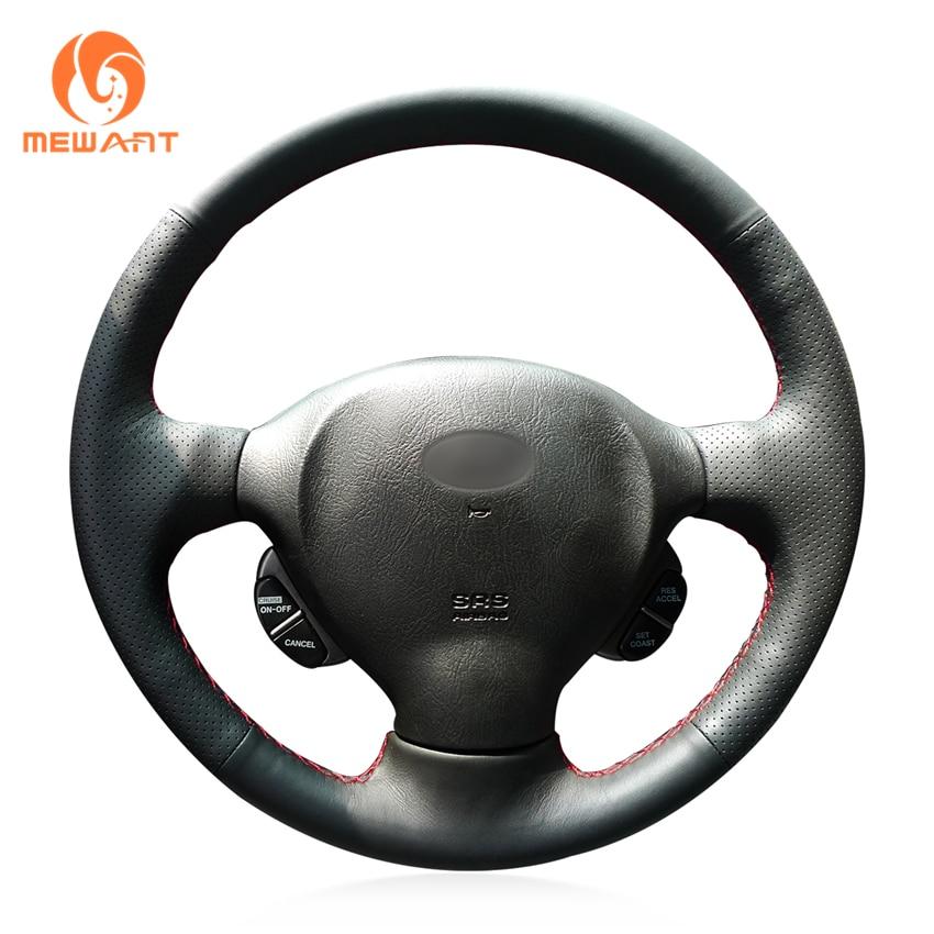 MEWANT Black Genuine Leather Car Steering Wheel Cover for Hyundai Santa Fe 2001 2002 2003 2004 2005 2006 mewant black artificial leather steering wheel cover for acura cl 1998 2003 mdx 2001 2002 honda accord 6 1998 2002 odyssey