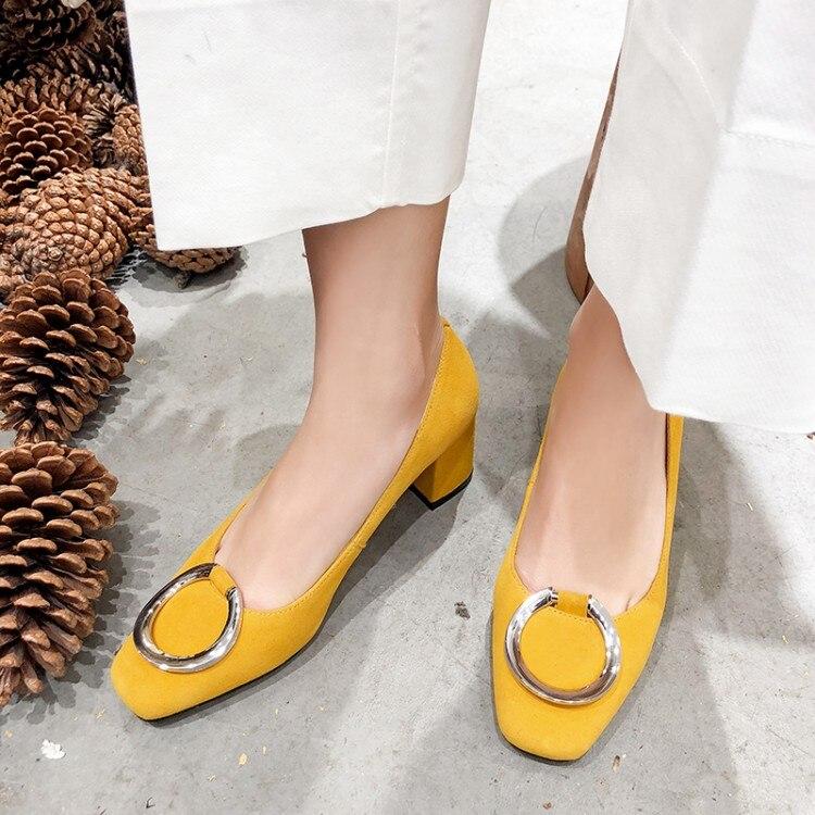 MLJUESE 2019 frauen pumpt Weichem Kuh Wildleder gelb farbe herbst frühling runde kappe high heels schuhe party kleid hochzeit größe 34 43-in Damenpumps aus Schuhe bei  Gruppe 1