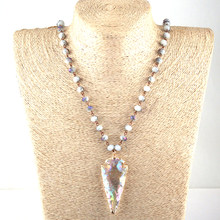 Free Shipping Fashion Bohemian Jewelry Glass Crystal Rosary Chain Crystal Arrowhead Pendant Necklaces(China)