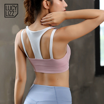 Women Black Sports Bra Hit Color Fitness Tops Backless Athletic Tank Active Wear Sport Clothes Running Tank Top Women Sport Sexy 3