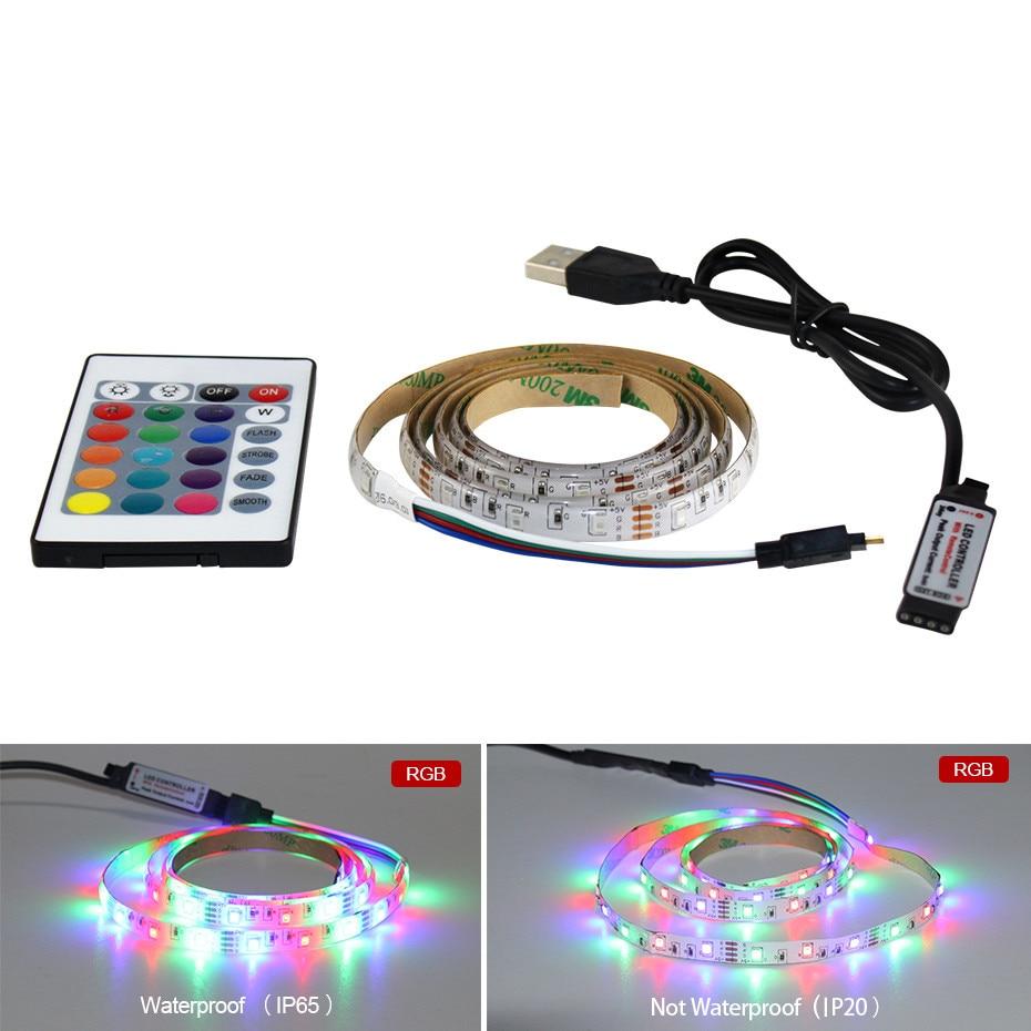 SMD2835 Flexible 5V Ribbon fita Led Light Strip RGB/White/Warm White USB HDTV TV Desktop PC Screen Backlight Background Lighting(China)