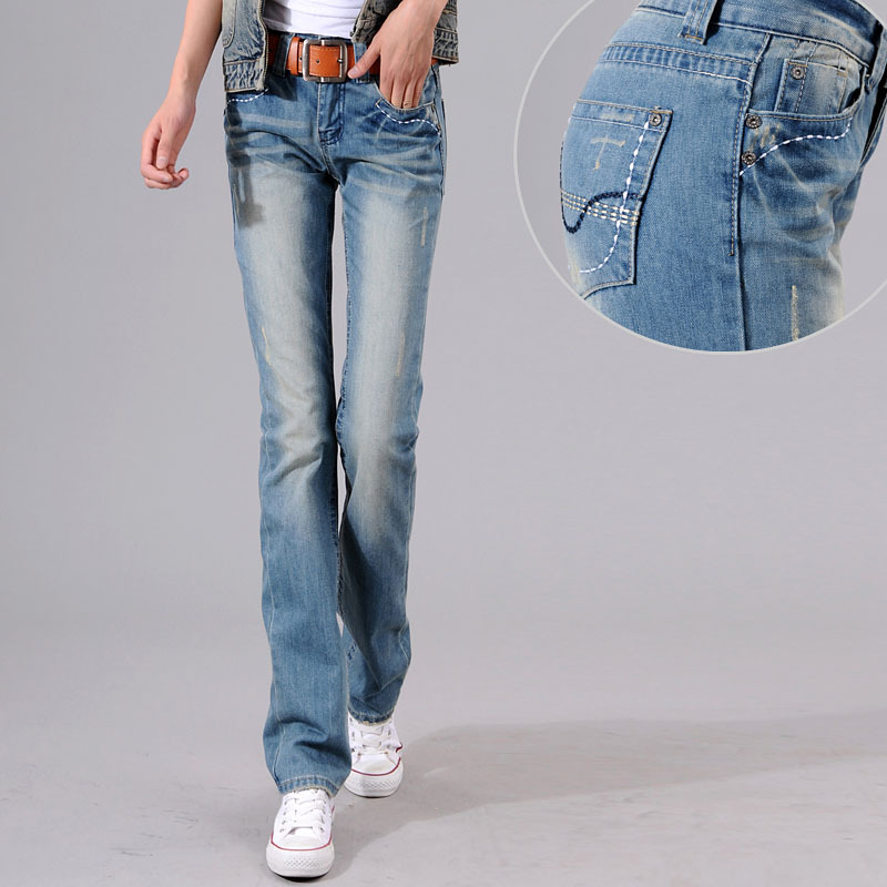 Woman spring plus size low full length jeans female summer oversized straight  jeans lady autumn No stretch slim jeans hee grand 2017 spring summer men jeans full length business style slim fitted straight denim trousers plus size 29 40 mkn960