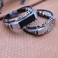 Per Fitbit Alta HR Fascia del Cuoio Genuino Del Wristband Del Braccialetto di Ricambio Retro Watch Band Strap per Fitbit Alta Bandje Accessori