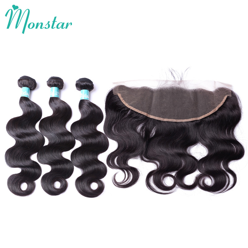 Monstar Products Body Wave Peruvian Human Hair with Frontal 8 - 30 Inch Natural Color Bodywave 3 Bundels with Frontal Closure