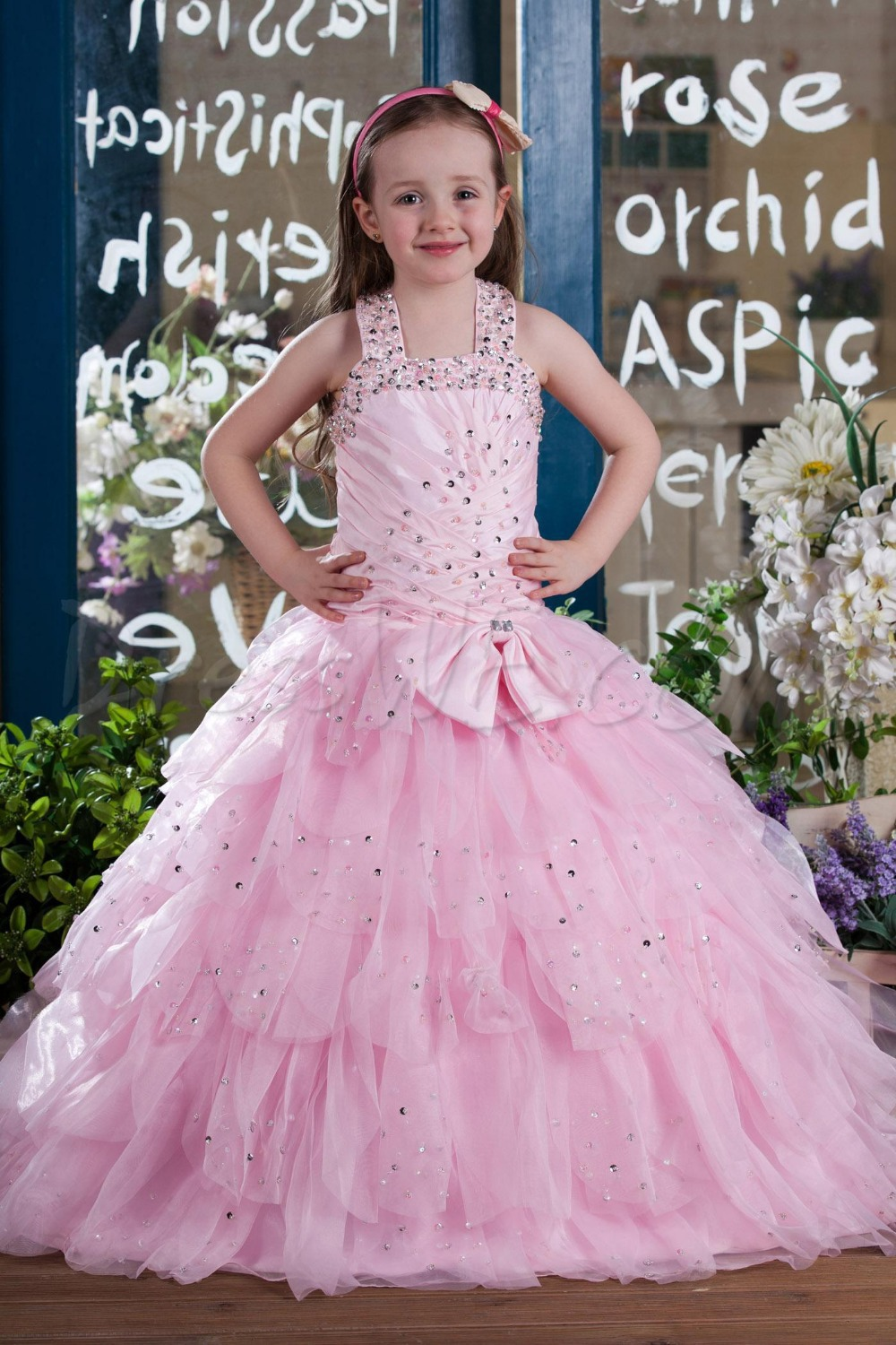 New Pretty Floor Length Long Criss-Cross Sequins Beading Tiered Tulle Ball Gown   Flower     Girl     Dresses   For Weddings F1298