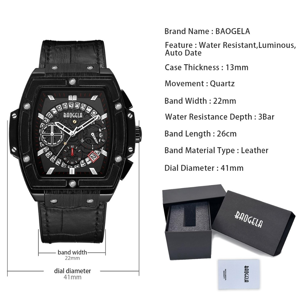Image 5 - BAOGELA Brand Fashion Mens Sports Waterproof Calendar Wrist Watch Square Multifunction Silicone Band Mens Watch-in Quartz Watches from Watches