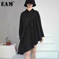 EAM 2018 New Spring Lapel Long Sleeve Black Irregular Fold Split Joint Big Size Cloak