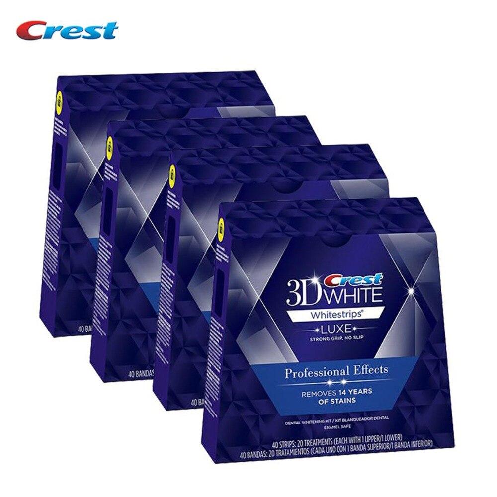 4 коробки/160 полосок 80 мешков оригинальный Crest 3D Белый Люкс профессиональные эффекты гигиена полости рта Отбеливание зубов