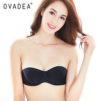 OVADEA Sexy Women Strapless Invisible Adhesive Silicone Bra Unlined Push Up 1 2 Cup Seamless Deep