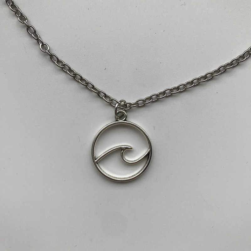 WUSQWSC New Wave Necklace Beach Pendant Nautical Surf Sweater Chain Boutique Jewelry Beautiful Waves Men's and Women's Gifts