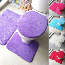 Three Pieces Bathroom Mat Set+Water Absorbent U-shape Mat+Toilet Seat Lid Cover Waterproof General Household Cover недорого