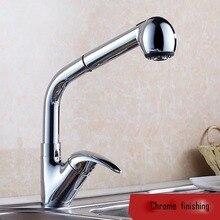 Torneira cozinha. Полированный хром живопись латунь два стиля воды 360 град. и вытяните кухонный faucet. Кухня смеситель