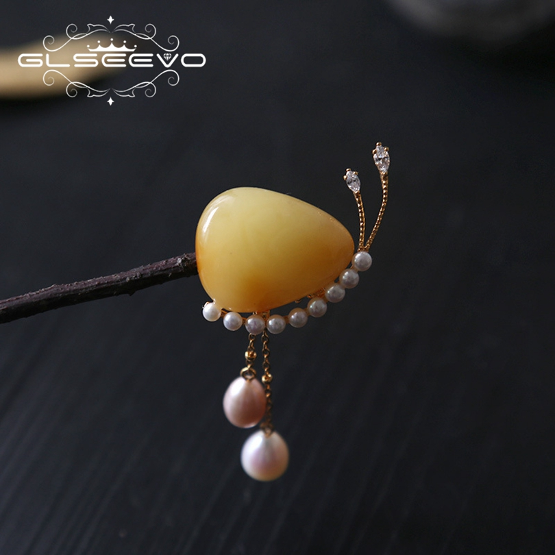 GLSEEVO Natural Fresh Water Baroque Pearl Brooch Pins Beeswax Stone Brooches For Women Party Dual Use Luxury Fine Jewelry GO0163GLSEEVO Natural Fresh Water Baroque Pearl Brooch Pins Beeswax Stone Brooches For Women Party Dual Use Luxury Fine Jewelry GO0163