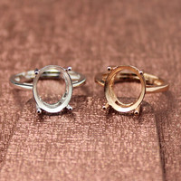 Simple Style Oval Shape Rings Basis S925 Silver Plated 18K Gold Ring Base Shank Prong Setting