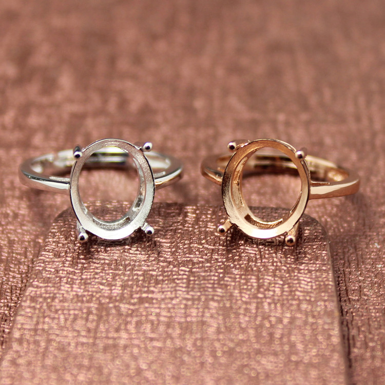 simple style oval shape rings basis S925 silver plated 18K gold ring base shank prong setting gemstones inlaid jewelry DIY women