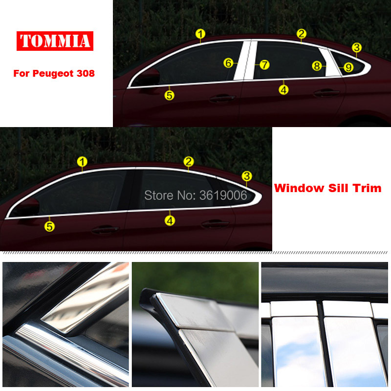 TOMMIA Full Window Middle Pillar Molding Sill Trim Chromium Styling Strips Stainless Steel For Peugeot 308 for renault koleos 2008 2012 stainless steel complete window sill belt trim windows molding trims glass strips car styling