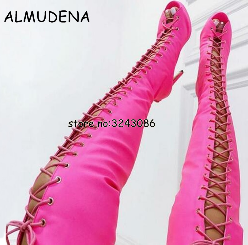 Best selling Denim Thigh High Red Fashion Sexy Long Boots Peep Toe Gladiator Designed High Heels Sandal Boots Over the knee