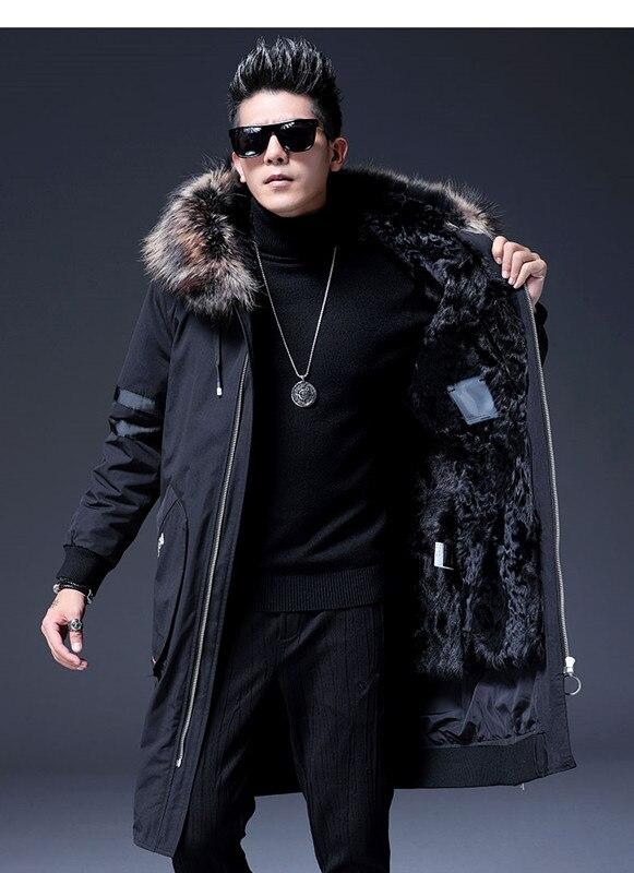 Tendance veste longue homme col fourrure de raton laveur hiver chaud neige montagne laine doublure long manteau hommes à capuche manteau de fourrure