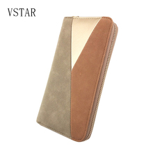 ФОТО 2018 vstar pu women wallet fashion casual  purse female  long ladies wallet three colour pu patchwork