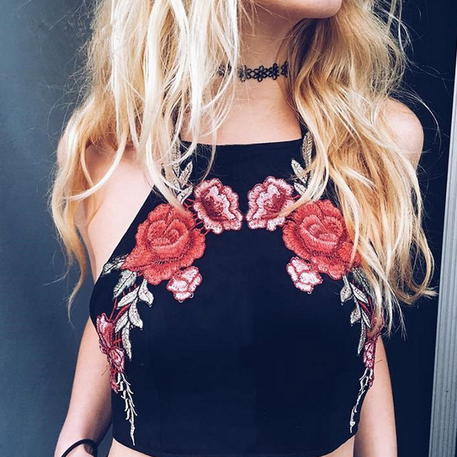 d5120e2b2ded7 Summer Women Tops Black Embroidered Rose Patch Sexy Cami Top With Neck Tie  Clothing 2017 Vintage V Neck Satin Camisole