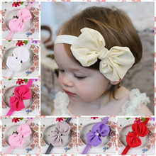 Cute 10 Colors Newborn Baby Girl Headband Infant Solid Bow Elastic Hair Band Bebe Girl Fashion Headband Accessories Drop Ship(China)