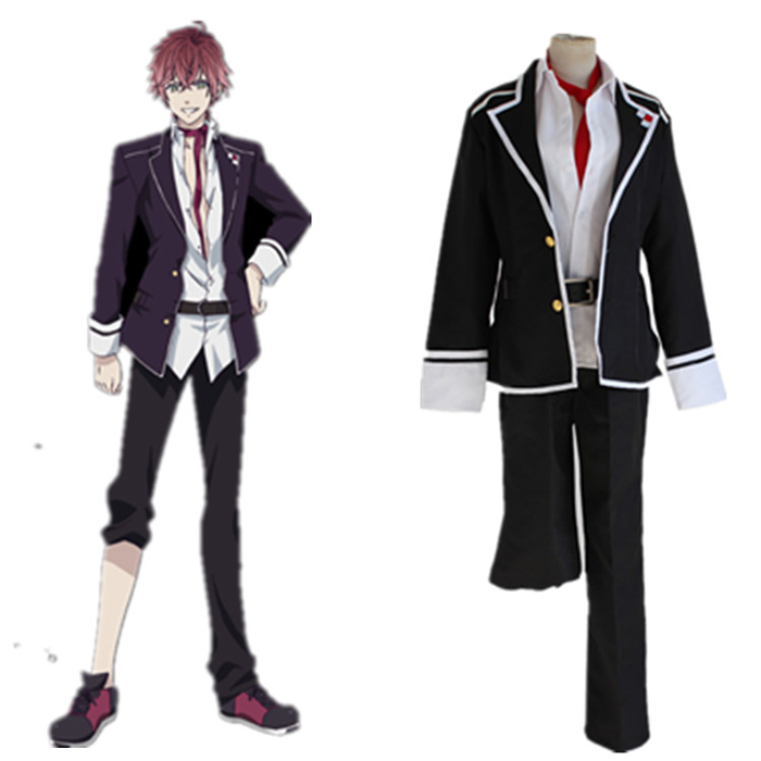 Anime Diabolik Lovers Sakamaki Ayato Cosplay Costume Full Set School Uniform ( Jacket + Pants + Belt + Tie )