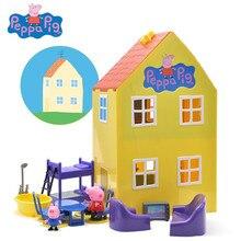 Peppa Brinquedos Porco Boneca Verdadeiro Modelo Cena Casa Membro Da Família parque de Diversões Ação PVC Figuras Brinquedos brinquedos Educativos de Aprendizagem Precoce