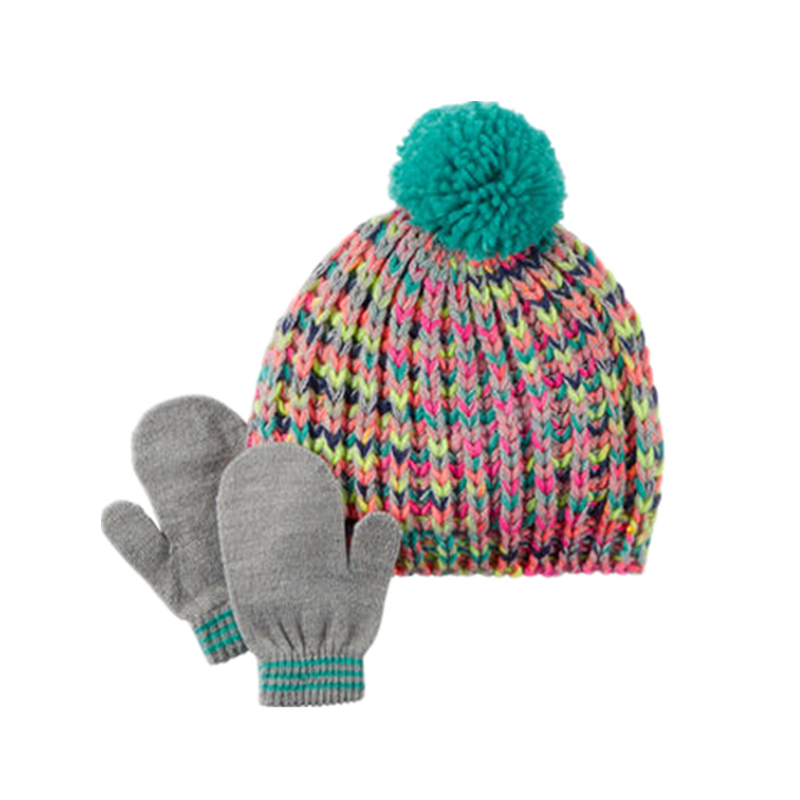 Clearance baby winter hat set 3pcs Knitted Hats Warm kids Caps + Scarf + Gloves Suits Children Kids Warm Beanie Suits