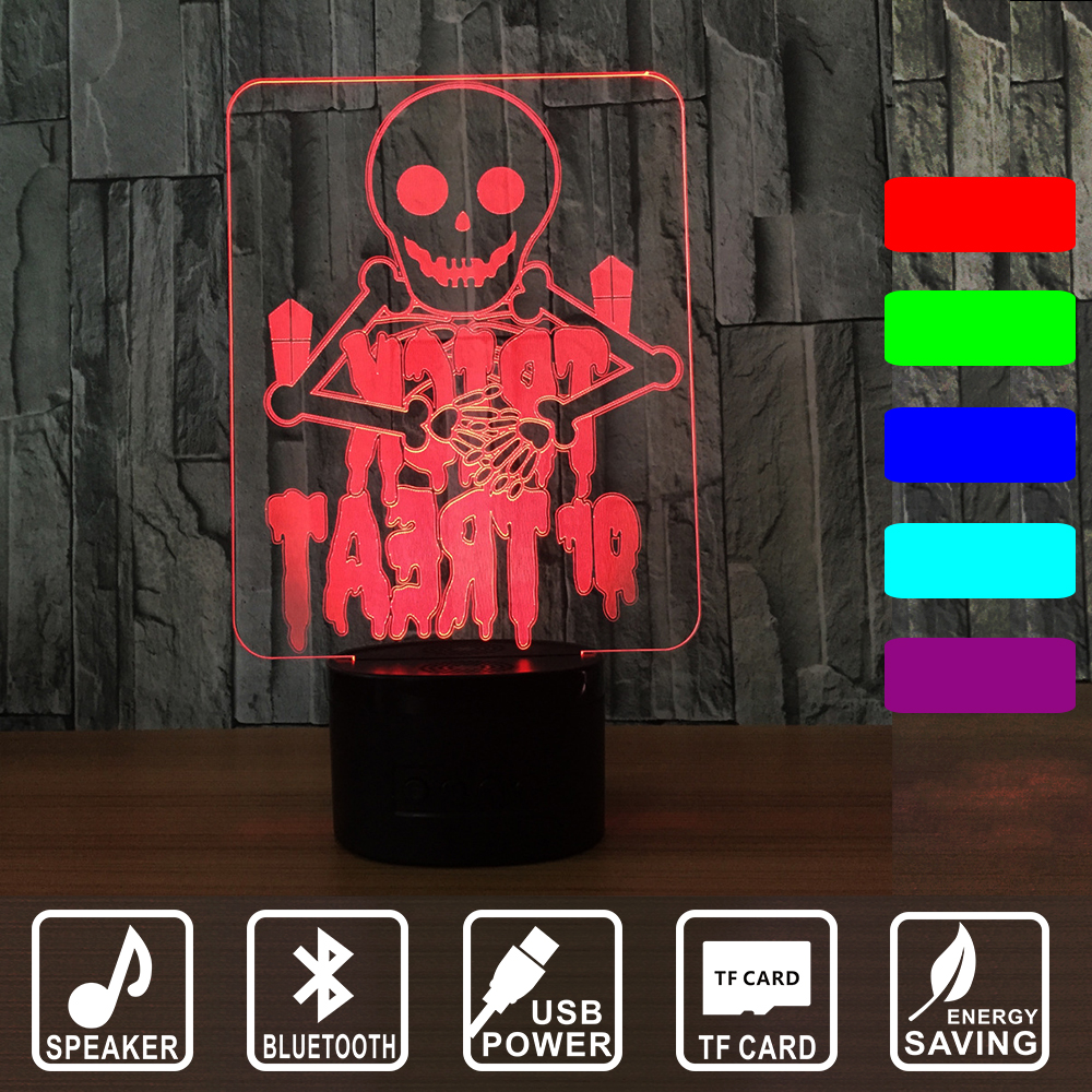 Blurtooth  Lamp Punisher Skull Multi-colored Bulbing Light Acrylic 3D Hologram Illusion Desk Lamp with music  For Kids IY803027B цена