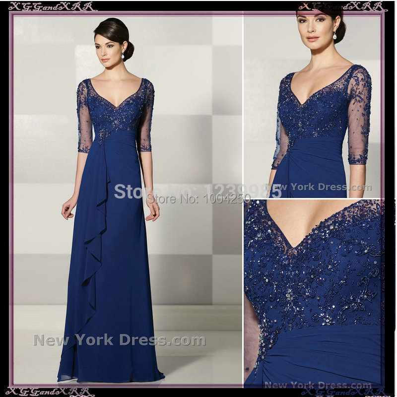 2018 Elegant Design Sexy V-neck Beaded Sequined Floor Length Half Sleeve Mother Of The Bride Dresses Dark Blue Evening Gown Moderate Price