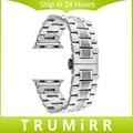 Correa de acero inoxidable para 38mm 42mm iwatch apple watch sport edition mariposa hebilla band pulsera de la correa con adaptador de enlace