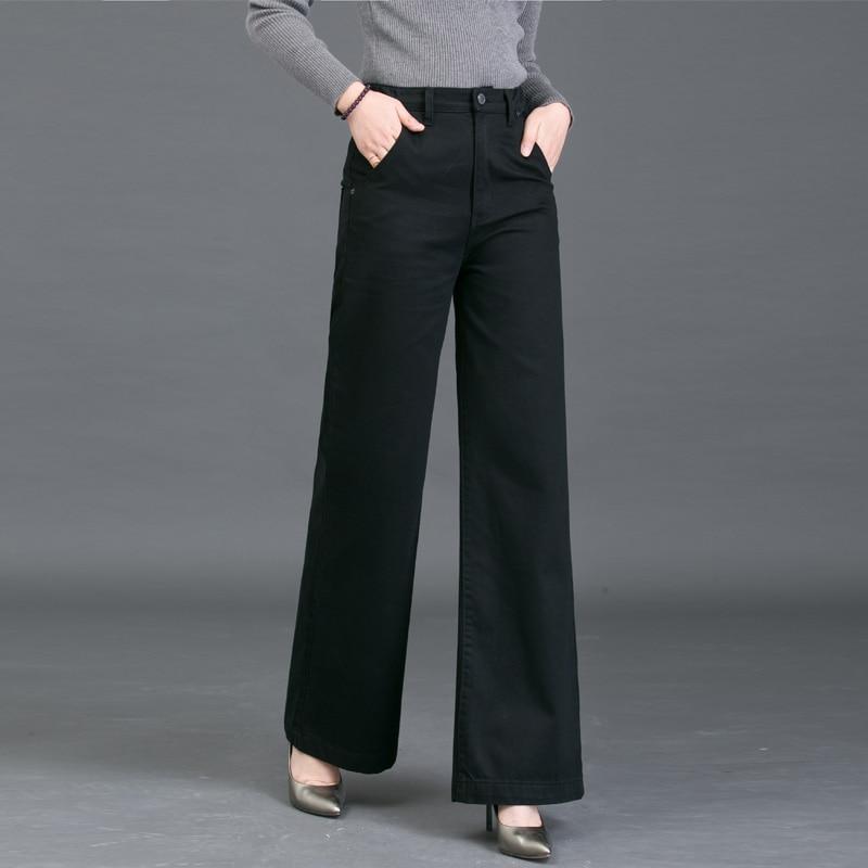 Automne 2018 Nouveau Noir Blanc femmes taille haute large jambe Légère Flare jeans loose fit élastique denim pantalon femelle
